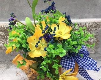 Yellow Butterfly Watering Can Flower Arrangement