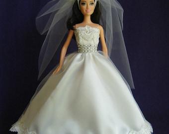 Barbie Wedding Dress, barbie wedding gown, barbie clothes, barbie doll clothes, barbie dress, fashion doll dress, fashion doll clothes