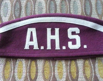 A.H.S. - Old High School Marching Band Cap  ...  Felt Souvenir - Collectible