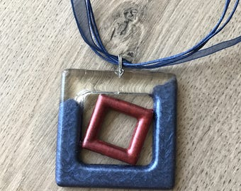 Square in square - resin necklace