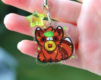 Token the Tanuki - Japanese Raccoon Dog Acrylic Charm 1.5 Doublesided Keychain Cellphone Strap