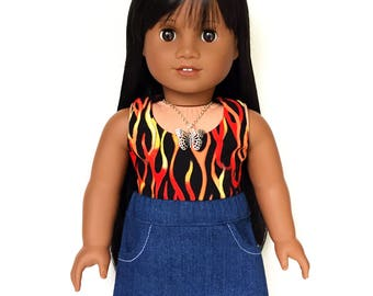 Tank Top, Reversible, Flames, Fire, Black, Red, Orange, Yellow, American, 18 inch Doll Clothes, Summer