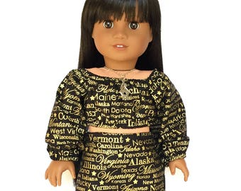 Crop Peasant Top, Long Sleeve, USA, State Names, Black, Gold, Fall, American, 18 inch Doll Clothes
