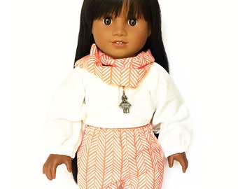 Print Jogger Pants, Infinity Scarf, Herringbone, Stripes, Coral, White, Fits dolls such as American Girl, 18 inch Doll Clothes, Fall
