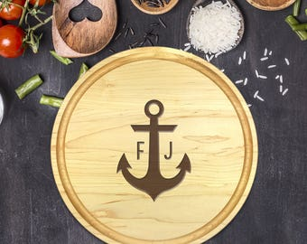 Personalized Cutting Board Round, Cutting Board Personalized, Wedding Gift, Housewarming Gift, Anniversary Gift, Christmas, Anchor, B-0056