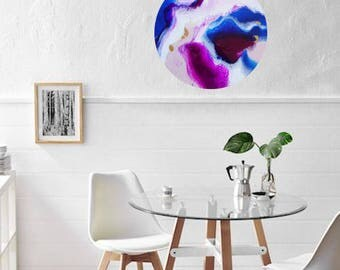 Blue, Magenta, White and Gold 40cm  RESIN ART