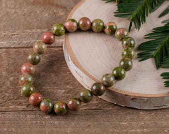 UNAKITE Power Bracelet - Unakite Bracelet, Unakite Crystal, Unakite Jewelry, Unakite Stone, Natural Unakite E0599