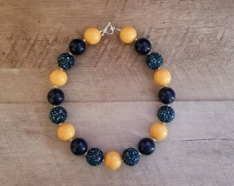 Yellow and Navy Necklace, Yellow Necklace,Bubblegum Bead Necklace, Mustard Yellow Chunky Necklace, Cake Smash Necklace, Fall Chunky Necklace