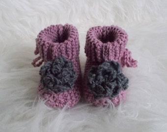 Handmade wool baby booties