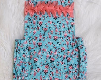 Floral baby girl romper, baby girl bubble romper, floral romper, bubble romper, romper, floral romper