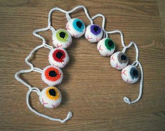 halloween party halloween decor halloween decorations halloween garland ornament crochet eyes scary decor crochet garland bunting Eyeball