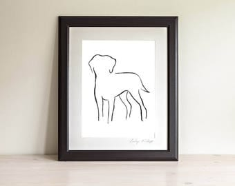 Framed Labrador Art Print, Labrador Line Art, Labrador Gift, Dog Line Art Print, Minimalist Art, Modern Line Drawing, Dog Lover Gift