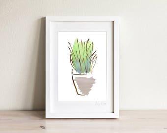 Framed Agave Art Print, Succulent Wall Art Print, Plant Illustration, Desert Art, Garden Art, Cactus Art Print, Gardeners Gift, Botanic Art