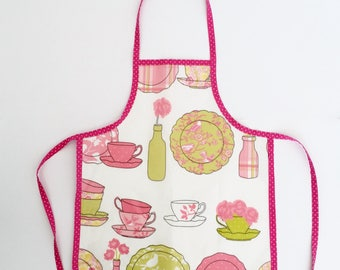 Girl's Apron in Red or Pink - Oilcloth Child's Red Apron/ Oilcloth Child's Pink Apron - gift for girls