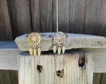 Dream Catcher Ring, Silver Ring, Gold Ring, Adjustable Ring, Gift For Her, Boho Gift, Boho Ring, Native American Ring, Southwestern Jewelry