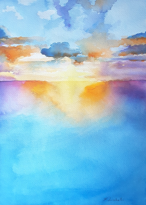 Seascape on sunset, A5 print, traditional watercolor, bright colors, gift idea for him, beach house decoration, office decore, sewing room.