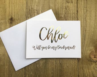Personalised  gold 'will you be my bridesmaid' card