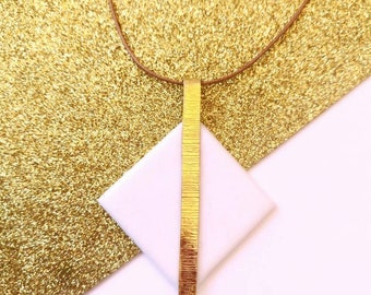 Extra Long Geometric Necklace, Square Classy Long Pendant, Sophisticated and Elegant Summer Necklace, Eclectic Jewelry, Unique Gift for Wife