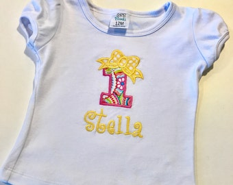 Personalized Birthday Shirt, Embroidered Birthday Shirt, Bow Shirt, Personalized Girls Bow Birthday Shirt, Girls Bow Birthday Shirt