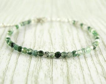 Beaded bracelet Moss agate bracelet simple bracelet birthday gift for her raw crystal bracelet birthstone bracelet healing crystals jewelry