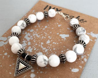 Semi Precious Howlite Bracelet with Triangle Charm