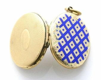 REDUCED Antique 9ct Gold & Blue Enamel Locket,  Victorian Gold Locket, 9ct Gold Locket, vintage 9ct gold Locket, Circa 1800