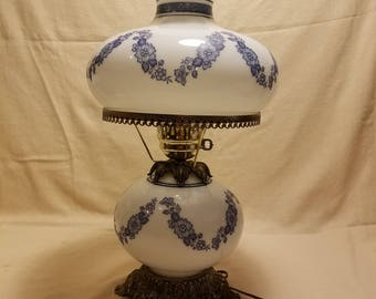 Vintage GWTW Hurricane Table Lamp Hand Painted Blue Floral