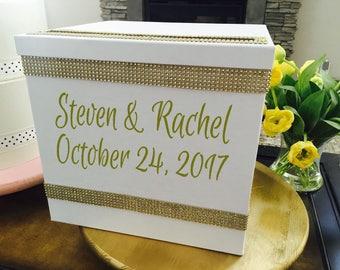 Wedding Date Decal Wedding Card Box Decal Wedding Bride And Groom Name And Date  Decal Wedding Gift Idea Wedding Monogram Personalized
