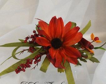 Corsage, Coneflower Corsage, Orange Corsage, Wedding Flowers, Orange and Red Corsage, Orange Shoulder Corsage, Orange Wrist Corsage