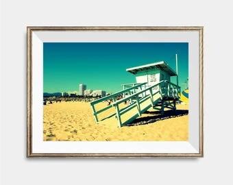 Santa Barbara California, Coastal Wall Art, Lifeguard Tower, Beach Room, California Coast,Beach Wall Art Beach Photography Print Beach print