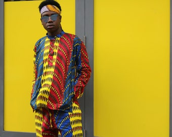 Ankara Shirt - African Top - Wax Print Shirt - Wax Top - two Piece - Mens Shirt - Ethical Clothing - Festival Shirt - African Clothing
