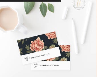 Vintage Floral Wedding Place Card Template / Boho Wedding Place Card / Name Card / Escort Card / Instant Download / Table Number Card #VCS