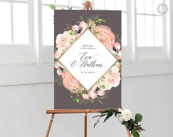 Wedding Welcome Sign, Welcome Wedding Sign, Welcome Sign, Welcome to Wedding, Printable Welcome Sign, Floral Welcome Sign, printable #PPS