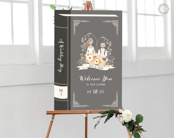 Wedding Welcome Sign, Welcome Wedding Sign, Welcome Sign, Book Themed Wedding, Literary Wedding, Illustrated Welcome Sign, #LCS