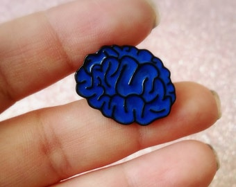 Creepy blue and black Brain enamel Lapel Pin, jacket pins, horror flair
