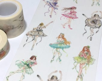 ballerina washi tape 3cm x 5M Dancing girl ballet Dance Party Invitations deco masking tape colorful dancing dress I love ballet decor gift