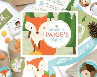 Little Animals, Forest Creatures, Rabbit, Bunny, Owl, Fox, Squirrel, Chipmunk, Teddy Bear, Kids Birthday Party Kit