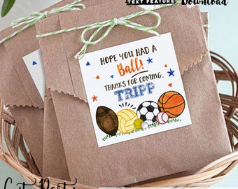 INSTANT DOWNLOAD - EDITABLE Sports Birthday Favor Tags Sports Birthday favors Printable thank you tag Sports Invite All Star Invitations