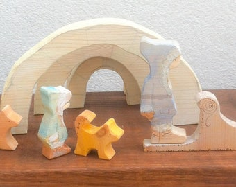 Eskimo/Inuit & igloo. Waldorf Wooden toy.