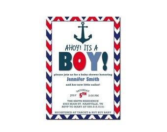 Ahoy Its A Boy | Nautical Baby Shower | Nautical Boy Shower | Baby Shower Invitation | Nautical Boy Baby Shower Invitation | Printable