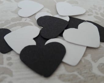 Black and White Heart Table Confetti Bridal Shower Baby Shower Wedding Childrens Party Favors Table Decoration Confetti
