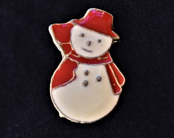 Vintage Enamel Snowman Brooch Coat Sweater Pin Retro Holiday Costume Jewelry 1.25""