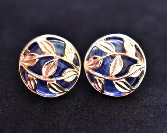 Vintage Avon Ornate Earrings Clip On Signed Blue Delicate Retro Costume Jewelry 1/2""