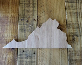 Hand Crafted Wooden Virginia State Outline
