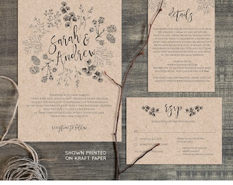 Wedding Invitation Template, Rustic Wreath, Printable Kraft Wedding Invite,  RSVP, Instant Download