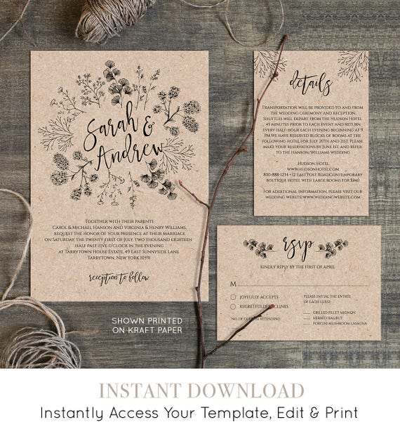 Wedding Invitation Template, Rustic Wreath, Printable Kraft Wedding Invite, RSVP, Instant Download, DIY, Digital Download, Editable #018A