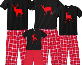 Deer Family Matching Holiday Pajamas - Buck, Doe, Fawn Fun for the Whole Deer Family! (580)