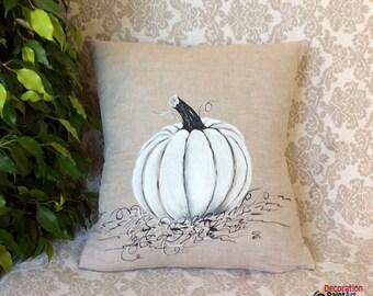 Fall Pumpkin Pillows/Fall Pillow Cover/White Pumpkin/Fall Home Decor/Fall Festivals/Halloween/Hand-painted/Pillow Cover/Fall Holidays