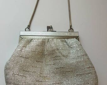 Evening bag, fifities bag, 1950's, Silver bag, evening bag, party bag, vintage accessories,