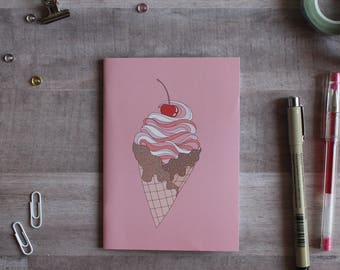 NOTEPAD. A6 Cute Ice Cream Cone Notepad. Soft 300 gsm Card Cover. 40 blank pages. Matte lamination pleasant to the touch.